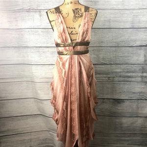 Bebe100% Silk grecian snakeskin print dress blush